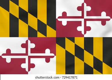 Maryland waving flag. Maryland state flag background texture. Raster copy.