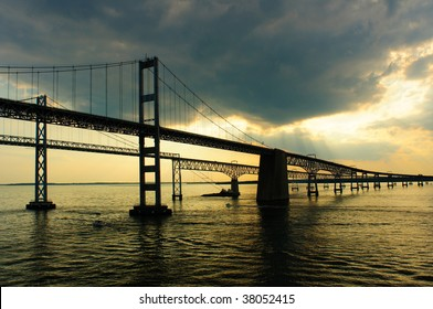 Maryland's Chesapeake Bay Bridges as sunset approaches