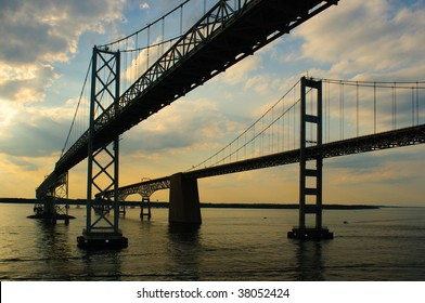 Maryland's Twin Chesapeake Bay Bridges as sunset approaches