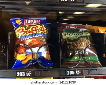 MARYLAND,USA - MAY 15: Vending Machine at a Hospital in Maryland, USA on May 15, 2013. Processed junk foods sold on Hospitals, and Schools are a threat to the public health.