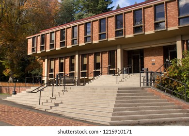 Marylhurst, Oregon / USA - Oct 29, 2018: Shoen Library at Marylhurst University. The university announced its closure in May 2018 after 125 years of operation. Its assets will be auctioned Nov 1.