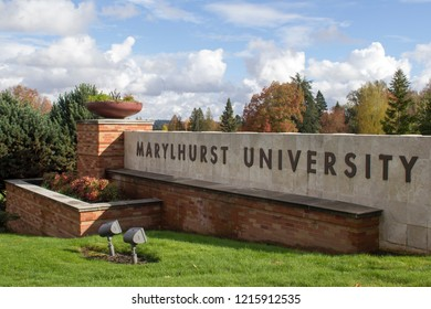 Marylhurst, Oregon / USA - Oct 29, 2018: The entrance to Marylhurst University. The university announced its closure in May 2018 after 125 years of operation. Its assets will be auctioned on Nov 1.