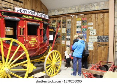 MARYSVILLE, KANSAS - MAY 2019 - Stagecoach at the Pony Express Museum