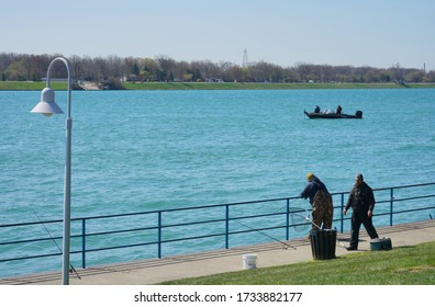 Marysville, Michigan - May 12, 2020:  View of the St. Clair river