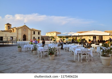 MARZAMEMI, ITALY - Aug, 2013: The old church of San Francesco di Paola in the main square of Marzamemi, a favorite destination for tourists.