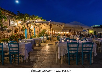 Marzamemi, Italy - September 21, 2018: Marzamemi is one among the most beautiful 20 sea villages of Italy. Marzamemi is a municipality part of the Province of Syracuse, Sicily. Italy.