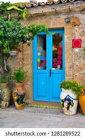 MARZAMEMI ITALY, SEPTEMBER 26 the beautiful village, features and colorful terracotta pots in front of the storen  province of Syracuse Sicily September 26 2018 Marzamemi Italy