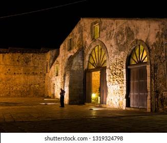 "Marzamemi, Siracusa, Italy - 06/29/2018: The famous historical ""Tonnara"" of Marzamemi"