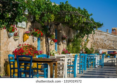 Marzamemi, Siracusa, Italy - 06/29/2018: The spectacular and colorful details of the square of Marzamemi
