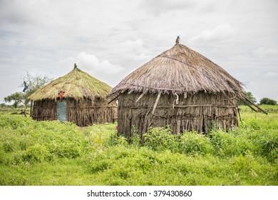 Masaai Huts in Tanzania Africa