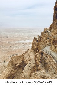 Masada - Ancient fortification in the Southern District of Israel. Ruins of King Herod's palace in Judaean Desert.