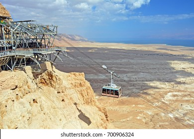 Masada cable car to the Jewish excavations and the Masada Fortress, National Park, West Bank, Israel