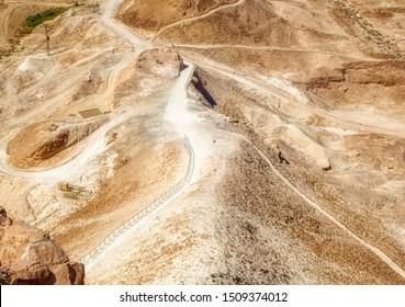 MASADA, ISRAEL, Remains of ancient Roman military ramp located in desert at Masada National Park in Israel.