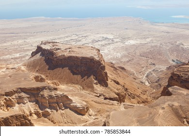 Masada UNESCO world heritage site near the Dead Sea in Israel seen from above in an aerial skyline photo