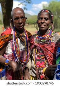 Masai Mara, Kenya - 30.09.2020: people from masai village