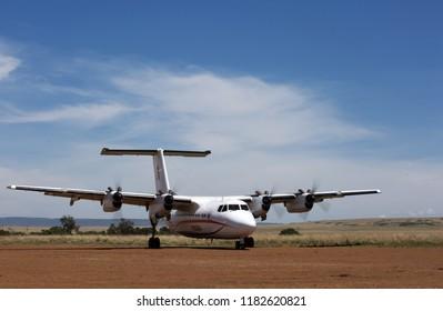 MASAI MARA, KEYNA-SEPTEMBER 12: Small Air Kenya aircraft at Ol Kiombo Airstrip on September 12, 2018, Masai Mara, Kenya