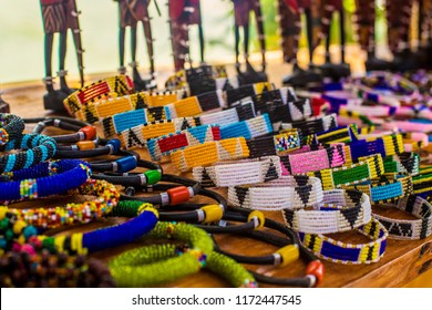 Masai selling handmade jewelry on the traditional African market in Tanzania