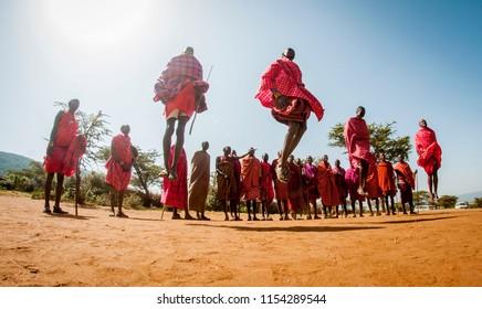 Masai.Narok/Kenya - 08 06 2018: Masai people jumping