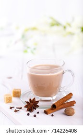 Masala chai tea, traditional Indian tea with milk and spices