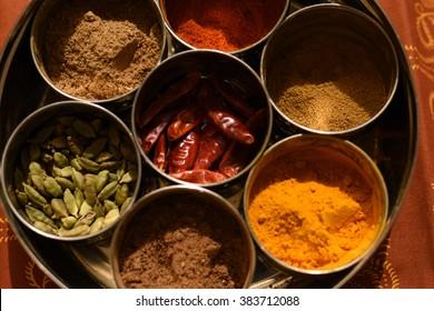 Masala Dabba Box with Tumeric, Cardemon Pods, Garam Masala, Cumin, Corriander & Cayenne