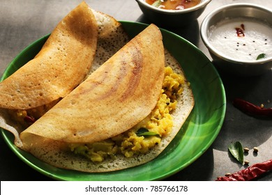 Masala Dosa / Indian breakfast Crepes with spicy potato filling