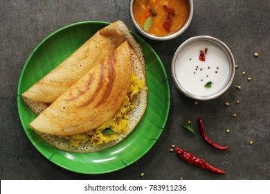 Masala Dosa / Indian Savory Crepes with potato filling , top down view
