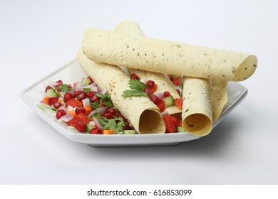 Masala papad , indian food,Masala papad with Salad,Masala Pappadoms