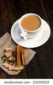 Masala tea with spices.National indian traditional beverage with tea, milk and spices.