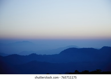 Masalong district - Chaing Rai province - Thailand , Sunset in the hill.
