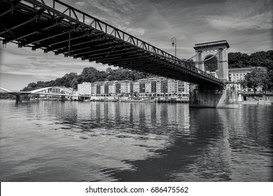 Masaryk Bridge - suspension bridge crossing of the Saône /Lyon, Rhône (69), Auvergne-Rhône-Alpes, France /This suspension bridge over the Saone River near Ile Barbe island in Lyon.