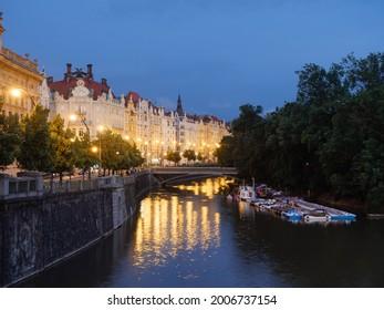 Masaryk Embankment orMasarykovo Nabrezi and Slavonik Island or Slovansky Ostrov and Boat Rental at Night - Shutterstock ID 2006737154