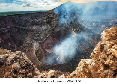 Masaya Volcano National Park in Nicaragua, wide shot of the active volcano with boiling lava in the bottom