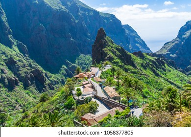 MASCA, TENERIFE - 21 MARCH 2018: Small mountain village Masca on the island of Tenerife in Canary Islands lies at an altitude of 650 m in the Macizo de Teno mountains and is a popular touristic spot