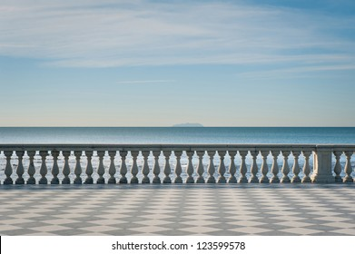 Mascagni terrace in front of the sea, Livorno. Tuscany, Italy.