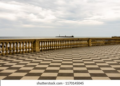 Mascagni Terrazza in Livorno, Italy. Mascagni Terrazza is a paved terrace along the seafront, close to the harbor of Livorno.