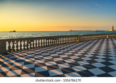 Mascagni Terrazza terrace belvedere seafront and harbour entrance at sunset. Livorno Tuscany Italy Europe.