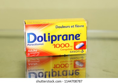 MASCARA, ALGERIA - July 26 2018: box of Tylenol Acetaminophen is the active ingredient of many drug specialties in the class of painkillers.