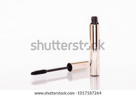 1d4ea9c3a09 Mascara Bottle and Brush. Fashionable Makeup for the Eyes, Black Mascara  wand and Tube