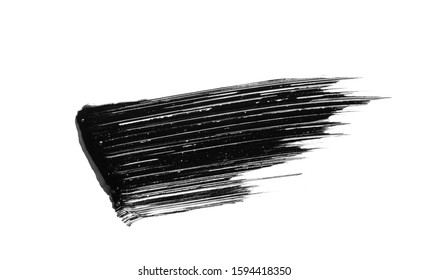 Mascara brushstroke smear smudge isolated on white background. Makeup texture. Cosmetic product  swatch