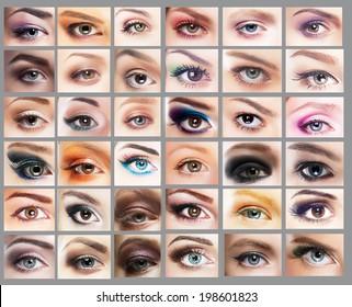 Mascara. Great Variety of Women's Eyes. Set of Eyeshadow