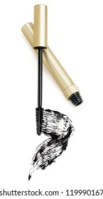 Mascara, wand applicator and black stroke against white background