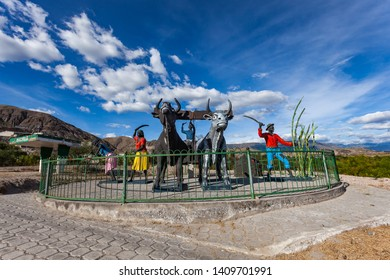 """Mascarilla, Carchi, Ecuador,  August 2018: Monument """"The oxen"""", represents the sowing, cultivation and harvest of sugarcane, on the road via Mira, Carchi, Ecuador"""