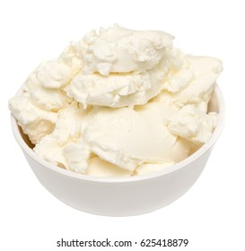mascarpone cream cheese in glass bowl on white background