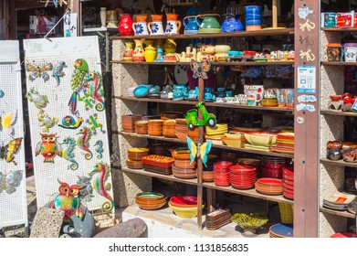 Masca,Spain,Europe-28/03/2018.Souvenir pottery shop in the village of Masca in the north west of Tenerife in Spain