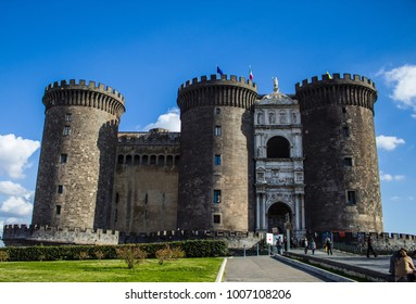 Maschio Angioino Castle in Naples during a sunny sunrise