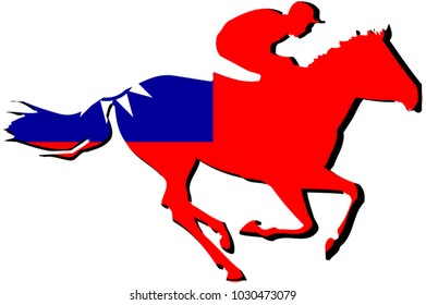 Mascot for horse riding sport with athlete in front of Taiwan flag with national colors background