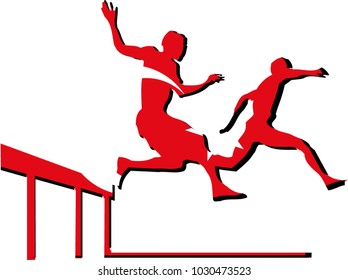 Mascot for hurdling sport with athlete in front of Turkey flag with national colors background