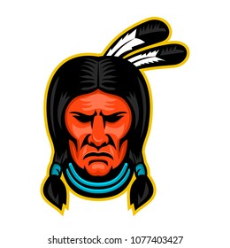 Mascot icon illustration of head of a Native American Indian or Sioux chief viewed from front on isolated background in retro style.
