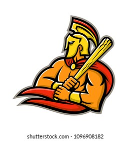 Mascot icon illustration of head of a Trojan or Spartan warrior wearing a helmet and holding a baseball bat viewed from side on isolated background in retro style.