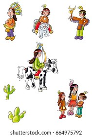 the mascot of Indians, with horse and family